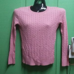 Talbots Petites pink cable knit sweater